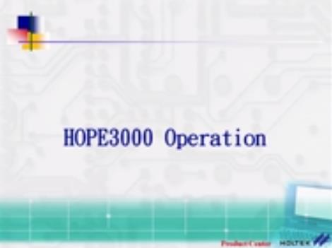 HOPE3000 Software Operation